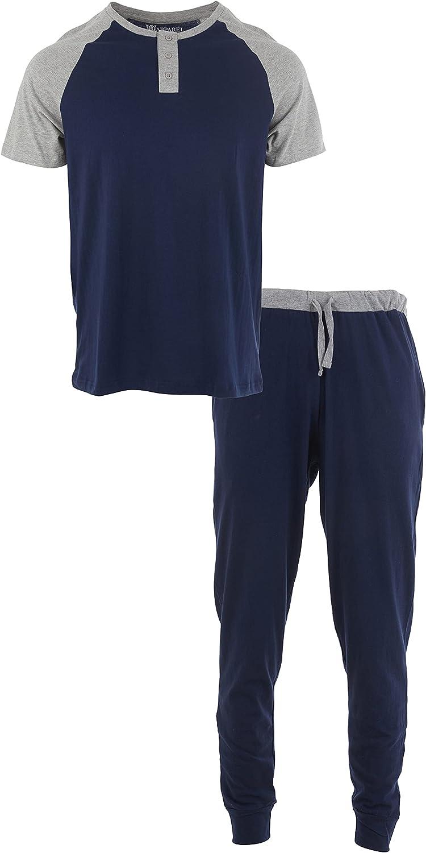 Men's 2 Pc Knit Pajama Set 100% Cotton Short sleeve Long Pants 2 Tone
