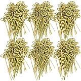 com-four® 300x Brochetas para Picoteos de Madera de Bambú - Brochetas de Madera con Nudos para un Aspecto Elegante - Ideal para Buffet o Gastro (300 piezas - 9cm con nudos)