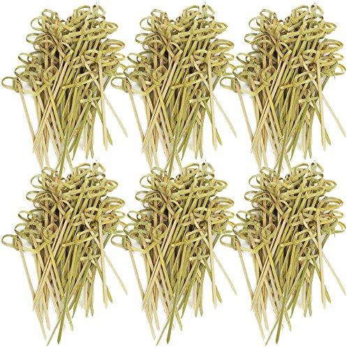 com-four® 300x Fingerfood Spieße aus Bambusholz - Holzspieße mit Knoten für edle Optik - ideal für Buffet oder Gastro (300 Stück - 9cm mit Knoten)