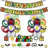 Super Mario Spiel Geburtstagsfeier Zubehör Dekoration Enthält Banner Luftballons Kuchen und...