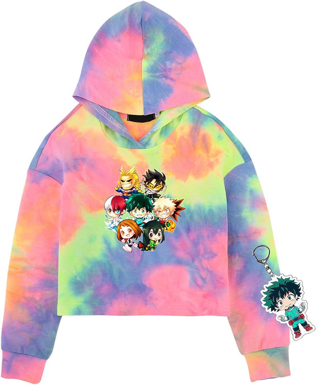 HEQUSigns My Hero Academia Tie-Dye Anime Hoodie for Kids with Midoriya Izuku Character Keychain