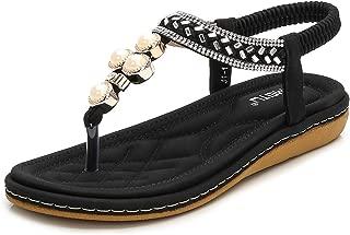 HPLY Women's Sandals Peep Toe T-Strap Bohemia Sandals Crystal Flats Flip Flops