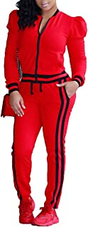 Women's Tracksuit Puff Sleeve Zip-Up Jacket and Pants Set Jogging Suits