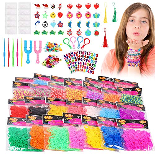 Loom Rubber Bands 12800pcs Rainbow Rubber Bands Refill Kit in 28 Colors with 500 Clips, 5 Crochet Hooks, 2 Y Loom, 100 Beads, 30 Lovely Charms, 4 Backpack Hooks, Rainbow Loom Rubber Bands DIY Refill