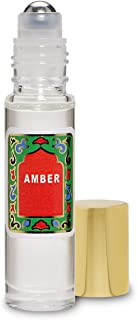 Amber Perfume Oil Roll-On - Amber White Fragrance Oil Roller (No Alcohol) Perfumes for Women and Men by Nemat Fragrances, 10 ml / 0.33 fl Oz