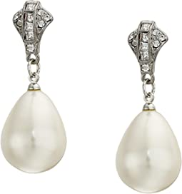 Rhodium/Rhinestone White Pearl Pierced Earrings