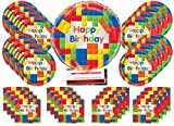 building blocks Mega Bloks Birthday Party Supplies Bundle Pack for 16 with 18 Inch Balloon (Plus Party Planning Checklist by Mikes Super Store)