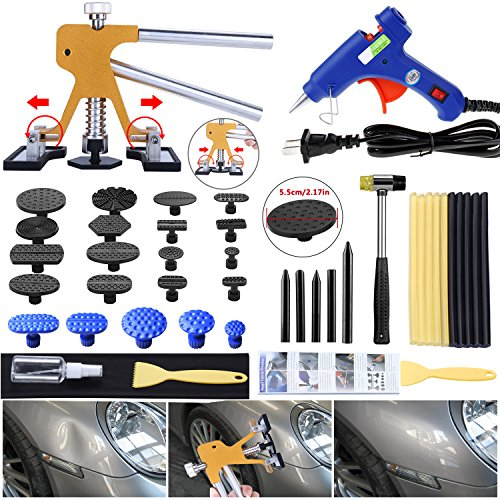 Gliston Auto Dent Puller Kit - Adjustable Golden Dent Remover Tools Paintless Dent Repair Kit Dent Lifter Puller for Car Large & Small Ding Hail Dent Removal