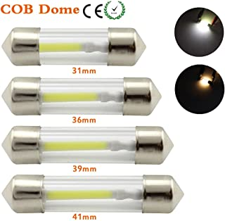 WeiXuan 4 PCS LED Car Festoon Dome Interior Light 31MM 36MM 39MM 41MM COB Filament Reading Map Door Bulbs(36MM, White)
