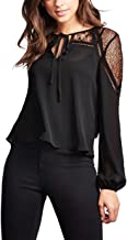 Blooming Jelly Women's Elegant V Neck Long Sleeve Shirt Lace Patchwork Keyhole Strap Chiffon Top Blouse