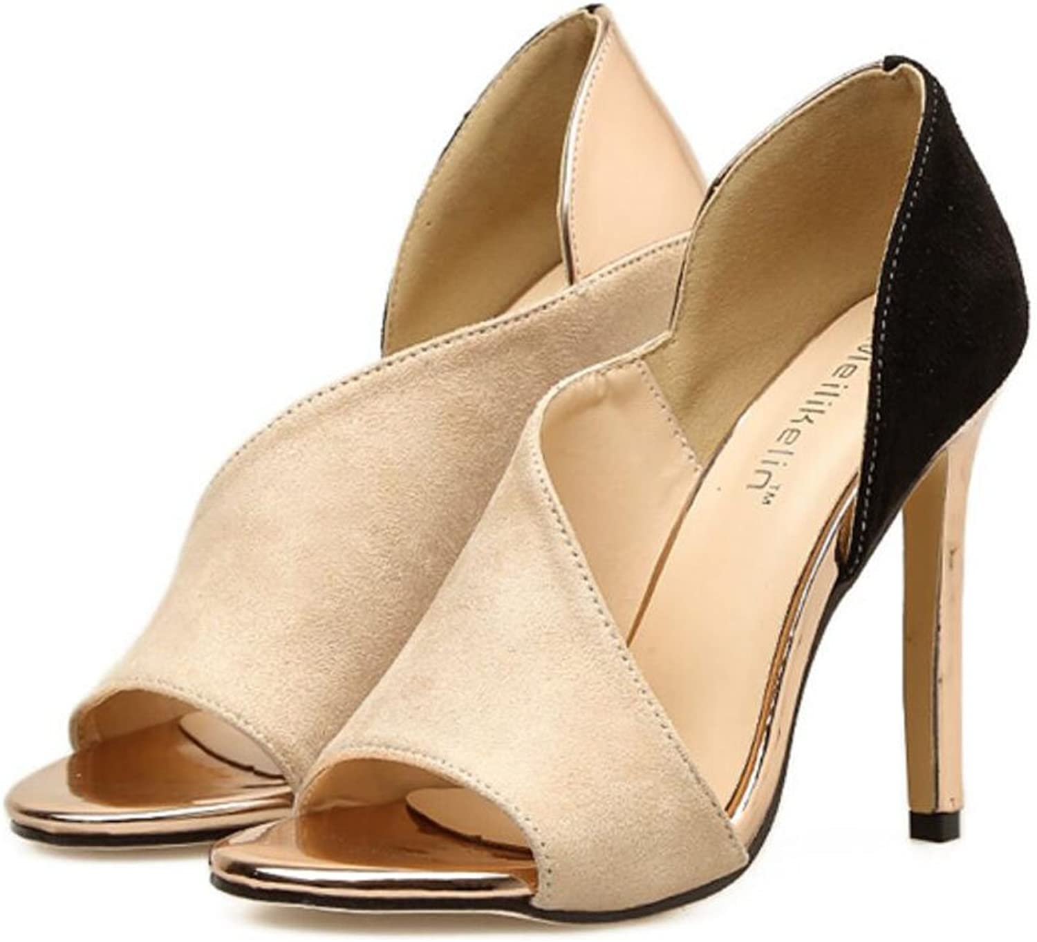 LZWSMGS Women's Peep Toe Suede High Heels Summer Fashion Hollow High Heels High Heels Sandals Court shoes Pump Large Size Ladies Sandals (color   Apricot, Size   6 US)