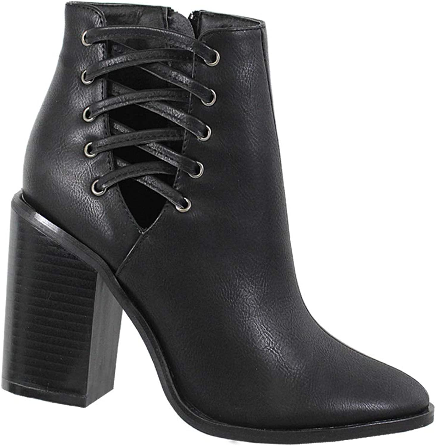 Yoki Women's REPLAY-22 Zip-up Heeled Ankle Boots
