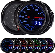 "HOTSYSTEM 7 Color Turbo Boost/Vacuum Gauge Kit Pointer & LED Digital Readouts 2-1/16"" 52mm Black Dial for Car Truck"