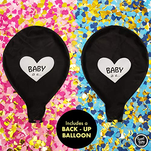 Sweet Baby Co. Jumbo 36 Inch Baby Gender Reveal Balloon   Big Black Balloons with Pink and Blue Heart Shape Confetti Packs for Boy or Girl   Baby Shower Gender Reveal Party Supplies Decoration Kit