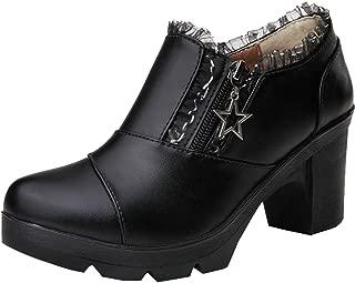 DADAWEN Women's Casual Zipper Lace Platform Mid-Heel Square Toe Oxfords Dress Shoes