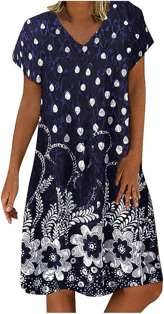 Women's Floral Dress Polk Dot V Neck Short Sleeve Comfy Large Size Pure Color Short Ladies Summer Dress