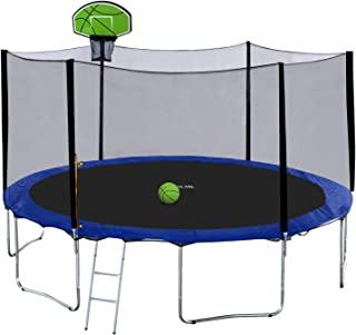 Exacme 14 FT 15 FT Trampoline with Safety Enclosure Net and Poles, Basketball Hoop, Ladder, Heavy Duty Outdoor Backyard Round Trampoline for Kids, S-Series