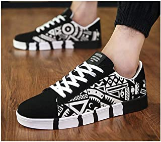 New Men Casual Canvas Shoes Print Sneakers Summer Trainers Leisure Shoes Men's Flats Slip Shoes Chaussures Pour Hommes White 8