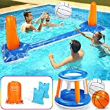 "lenbest Inflatable Volleyball Set, 115"" Inflatable Pool Float Set Include Basketball Hoop Set & Balls Floating Swimming Pool Toy Pool Volleyball Game for Kids and Adults (115"" x 38"" x 28"")"