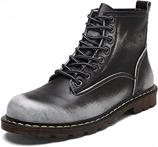 Motorcycle Boots for Men Autumn Winter Lace-up Non-Slip Shockproof Combat Boots