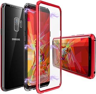 ギャラクシーS9 ケース SC-02K 対応 uovon マグネット式 360°全面保護 Galaxy S9 クリアケース 両面9H強化ガラス SCV38 ガラスカバー・ブラック+レッド