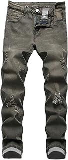 Men's Ripped Distressed Jeans Biker Moto Denim Fashion Tapered Leg Slim Fit Zipper Pants