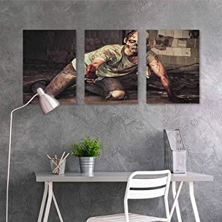 HOMEDD Anti-Fading Oil Painting,Zombie Halloween Scary Dead Man in The Old Building with Bloody Head Nightmare Theme,for Living Room,Dinning Room, Bedroom 3 Panels,24x47inchx3pcs Grey Mint Peach