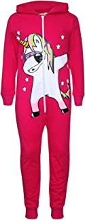 Kids Girls 100% Cotton Pink Unicorn Dab A2Z Onesie One Piece All in One Jumpsuit