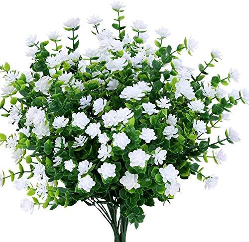 Ruiuzi Künstliche Blumen, 4 Stück, für den Außenbereich, UV-beständig, Sträucher, Pflanzen drinnen und draußen, hängende Pflanzgefäße für Haus und Garten weiß