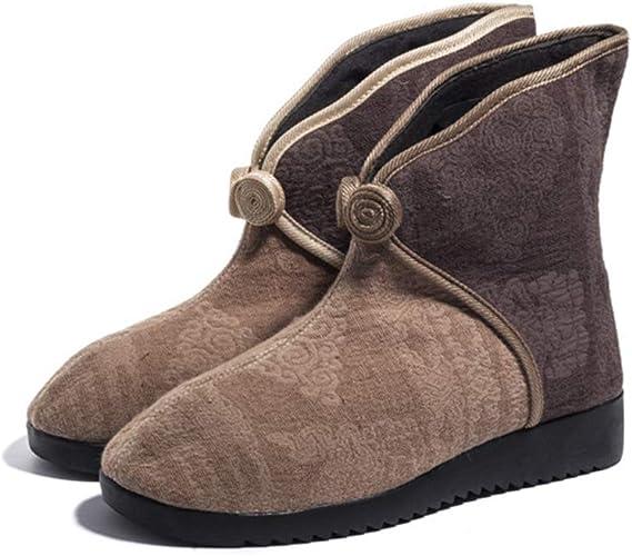 YAN Bottes en Coton pour Femmes, Chaussures brodées Traditionnelles Ballet Danse Mocassins Occasionnels Semelles Oxford Semelles Fashion (Couleur   Une, Taille   38)