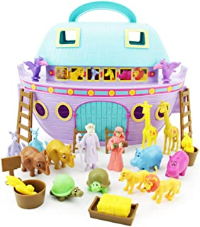 Boley Noah's Ark Playset - 29 Piece Bible Story Toys Play Set for Kids with Boat, Noah and Wife Figurines, Zoo Animals, and Barn Accessories - Biblical Play Sets for Boys and Girls