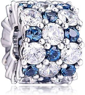 PANDOCCI 2019 - Perle scintillante bleu hiver et transparent en argent 925 - Pour bracelets Pandora originaux, bijoux tend...