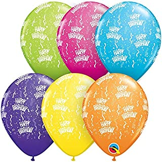 Folat 45269Q Colourful Happy Birthday Balloons 13 cm-100 Pieces, Multi-Colored