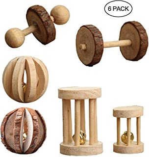 AUOKER 6 Pack Syrian/Dwarf Hamster Chew Toys Teeth, Natural Wooden Pine Hamster Ball, Exercise Dumbells Roller, Molar Sticks, Cage Accessories for Hamster Parrot Chinchilla Guinea Pig Rabbit Bunnys