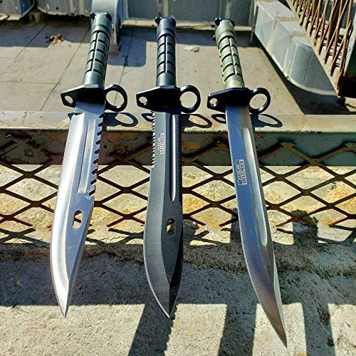 3 Pc Military Survival Rambo Hunting Knife Ultra Sharp Fixed Blade Knife Bayonet Tactical Bone Edge Camping Survival Pocket Knives + Free eBook by Survival Steel