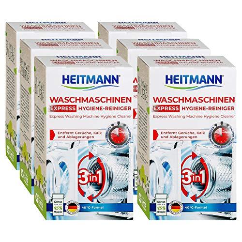 Heitmann Express Waschmaschinen Reiniger: entfernt Kalk, Ablagerungen und Gerüche, Maschinenreiniger, 6x250 g