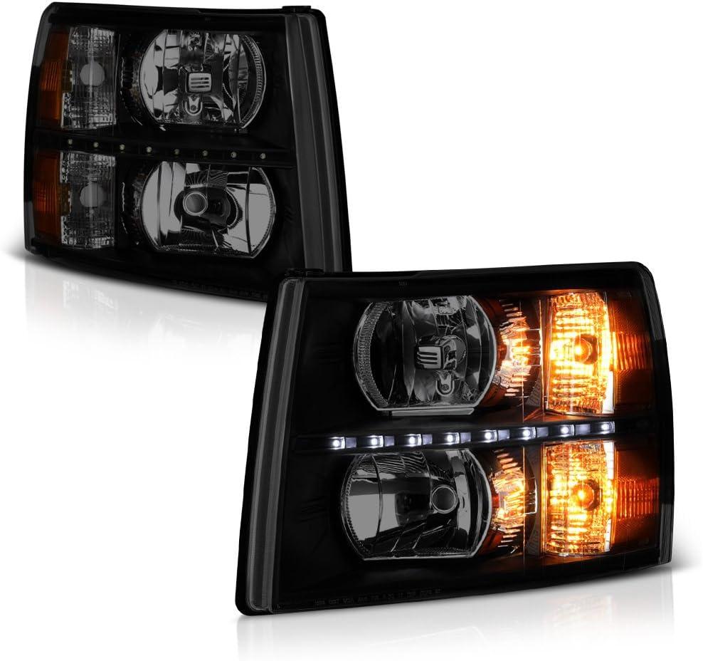 VIPMOTOZ Black 授与 Smoke LED Strip DRL A Headlight OE-Style 買い物 Headlamp
