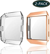 (2-Pack) KPYJA for Fitbit Ionic Screen Protector, TPU All-Around Protective Case High Defination Clear Ultra-Thin Cover for Fitbit Ionic Smart Fitness Watch (Rose Gold/Clear)