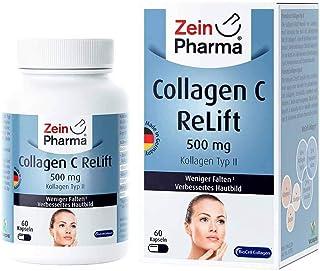 ZeinPharma colágeno C ReLift 500 mg 60 cápsulas (pack mensual) con ácido hialurónico. condroitina. manganeso. biotina y vitamina C Fabricado en Alemania. 45 g