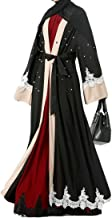 Cromoncent Women's Loose Fit Stylish Saudi Arabia Islamic Muslim Beaded Dubai Abaya Dress Black L