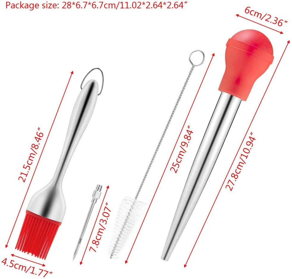 dededepeng Lot de 4 accessoires pour barbecue et barbecue rouge rouge