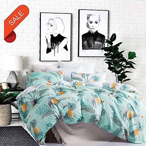 Carisder Microfiber Duvet Cover Set Polyester Bedding Set Girls Floral Bohemia Bed Sheet Set AB Version Pineapple Queen