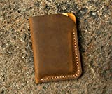 Minimalist leather credit card sleeve holder/personalized slim leather business card case wallet Gift wrap CH056V