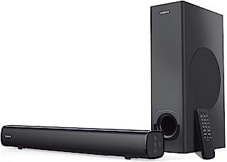 Barra de Sonido para Colocar Debajo del Monitor Creative Stage de 2.1 Canales con subwoofer para TV, Ordenadores y monitores Ultra Anchos, Bluetooth/Entrada óptica/AUX, Kit de Montaje en Pared