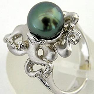 WassanaLab Women Retro 925 Silver Green Pearl Octopus Rings Wedding Engagement Anniversary (7)