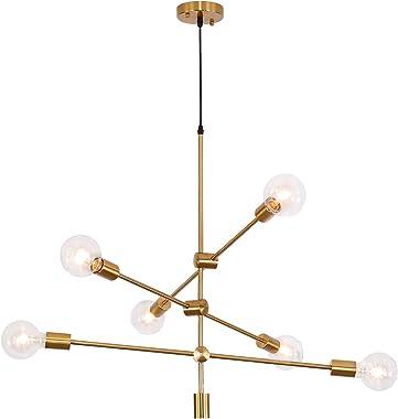 Sputnik Chandelier 6 Lights,Gold Pendant Light Fixture,Industrial Brass Ceiling Lighting for Dining Room Kitchen Island Bedro
