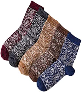 Pack of 5 Mens Vintage Style Winter Warm Colorful Cotton Crew Socks Size US 6-11