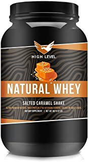 High Level Natural Whey Protein Powder | Salted Caramel Shake with Stevia | 29g Protein | 2 lb, Ultra Filtered Non-GMO | D...