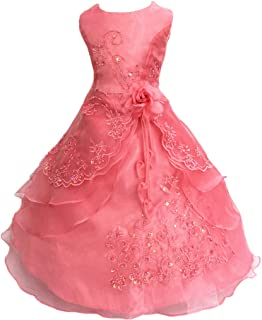 Shiny Toddler Little Girls Embroidered Beads Flower Girl Birthday Party Princess Dress with Petticoat