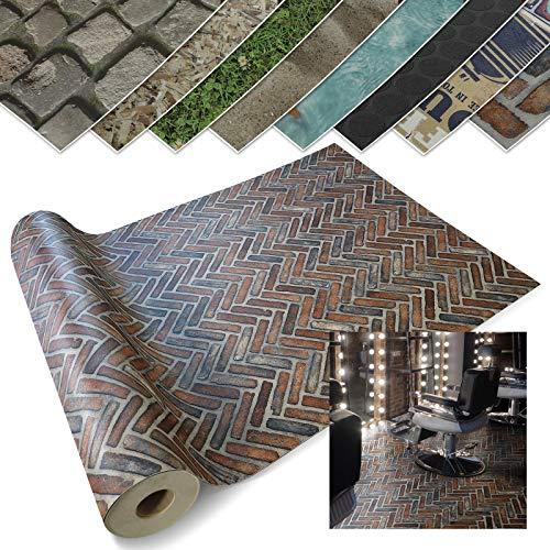 casa pura Pavimenti in PVC Rotoli - Pavimento Adesivo, Effetto 3D | Stickers Pavimento e Copri Mobile per Cucina, Bagno, Ufficio | Motivo Mattoni - 200 x 800 cm